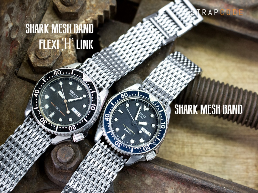 "36ed6effa2ac DA202005B004B Seiko-QZ-150m DA202019B005B Seiko-QZ-200m Left  19mm or 20mm  Flexi Ploprof 316 Reform ""SHARK"" Mesh Band ..."
