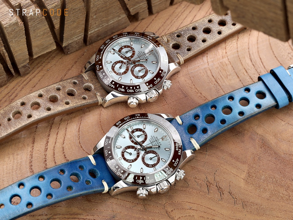 114e8bf5e33 Right  20mm MiLTAT Italian Handmade Racer Vintage Blue Watch Strap