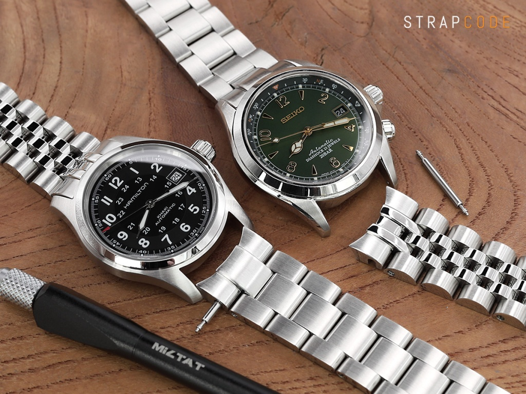 cd6fc5ca4 Left: Super 3D Oyster watch band (SS201805B065 ) for Alpinist now on Hamilton  Khaki Field Automatic 38mm Men Watch H70455733