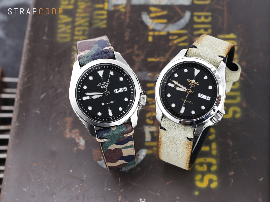 strapcode watch bands 20mm MiLTAT Italian Handmade Camo Pattern Watch Strap, 18mm end, Khaki Stitching