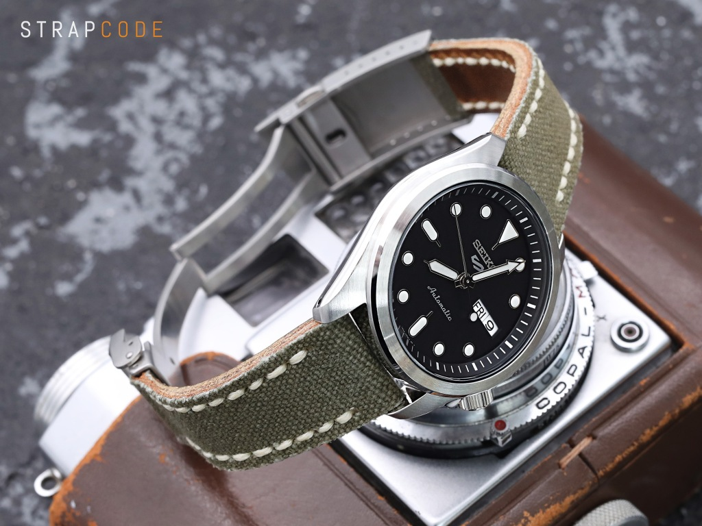 strapcode watch bands 20mm MiLTAT Military Green Canvas One-Piece Watch Strap