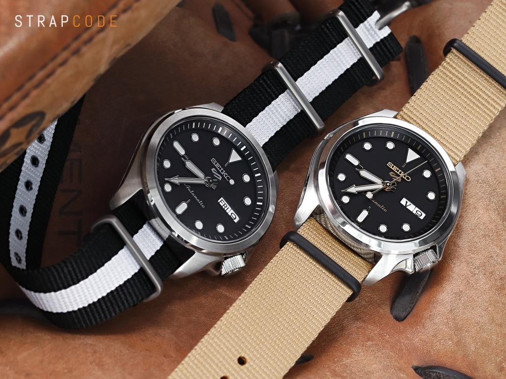 strapcode watch bands 20mm G10 Nato James Bond Heavy Nylon Strap Polished Buckle - J27 Black-White-Black
