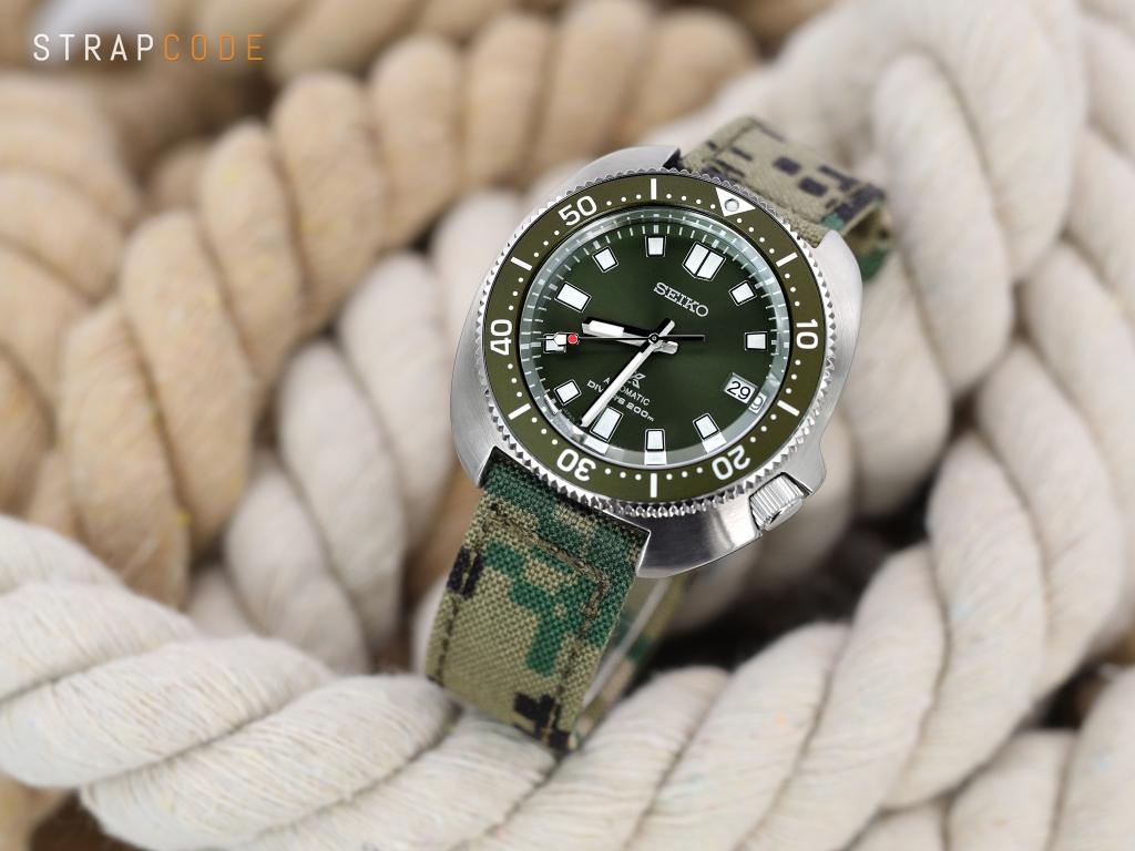 strapcode watch bands 20mm MiLTAT WW2 2-piece Woodland Camo Cordura 1000D Watch Band with lockstitch round hole