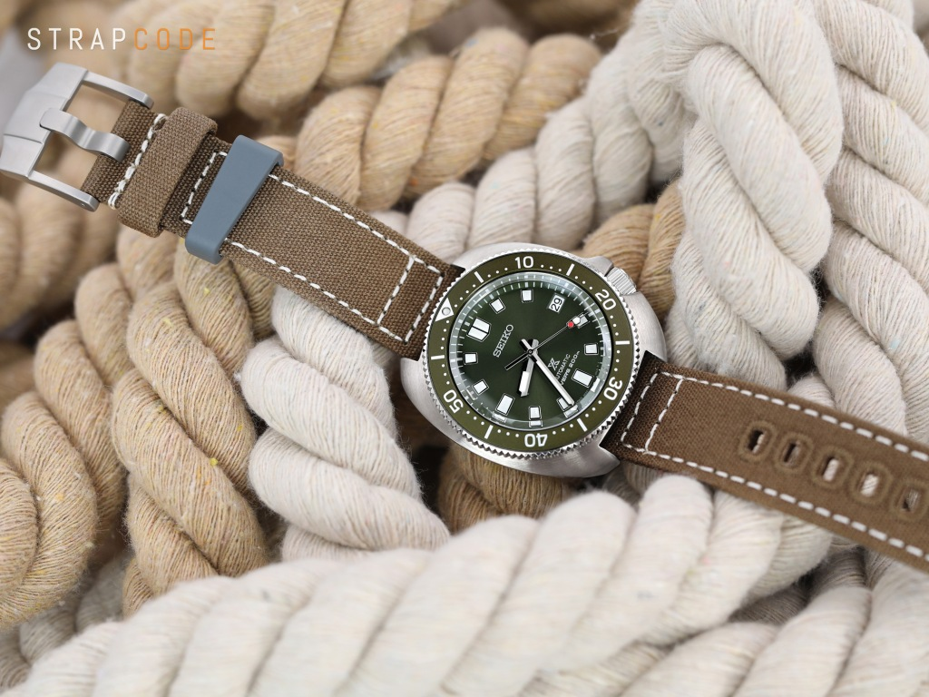strapcode watch bands 20mm Tan Color Quick Release Canvas Watch Strap