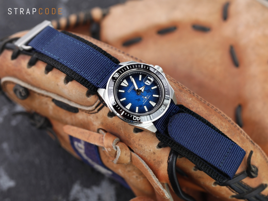 strapcode watch bands 22mm MiLTAT Honeycomb Navy Blue Nylon Velcro Fastener Watch Strap