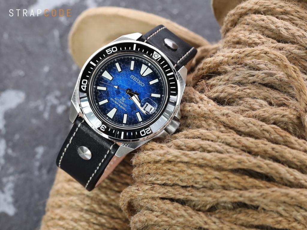 strapcode watch bands 22mm Black Woven Texture Watch Strap, Beige Stitching