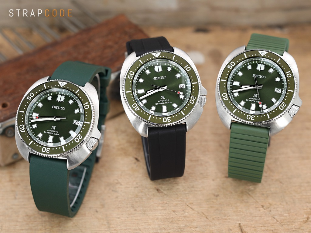 strapcode watch bands Emerald Green FKM Rubber Quick Release Watch Band